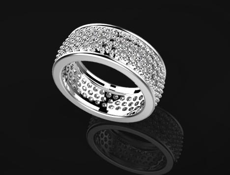 Anello realizzato in oro bianco 750 con incassatura a pavé di 111 diamantini taglio brillante per un totale di 1,50 carati